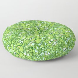 Funny green frogs entangled in a messy pattern Floor Pillow