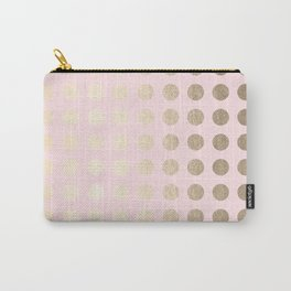 Simply Polka Dots White Gold Sands on Flamingo Pink Carry-All Pouch