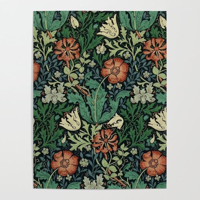 william morris compton floral art nouveau pattern poster by