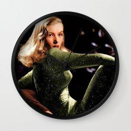 Classic Veronica Lake Portrait in Green - Jeanpaul Ferro Wall Clock