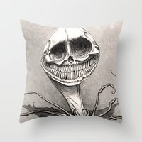 jack skellington Throw Pillows featuring Jack Skellington by The Art of Austen Mengler