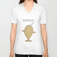 narwhal V-neck T-shirts featuring Narwhal by Carl Batterbee Illustration