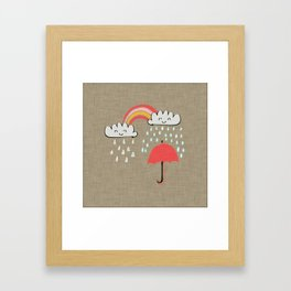 April showers rainbow Clouds Sand #nursery Framed Art Print