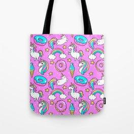 Kawaii Sweet Pink Glittery unicorn pattern Tote Bag