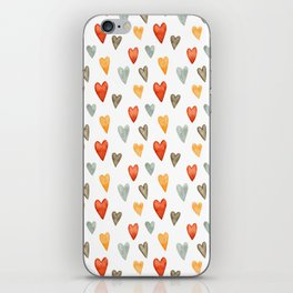 Illustrated Sketch Hearts // Orange // Yellow // Gray iPhone Skin