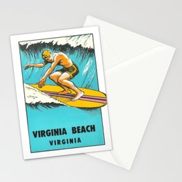 Virginia Beach Retro Vintage Surfer Stationery Cards