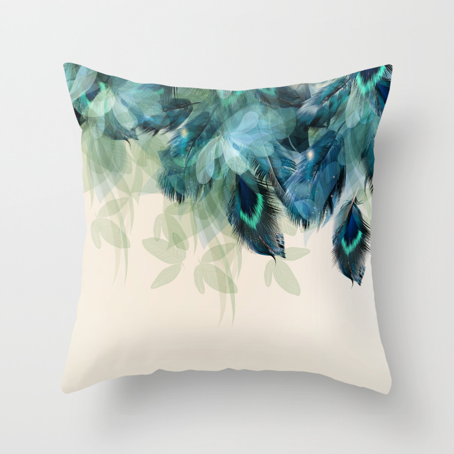 Beautiful Peacock Feathers Throw Pillow By Nlmiller07art Society6