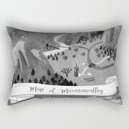 Moominvalley Map interpretation (Black & White) Rectangular Pillow