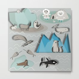 Arctic animals grey Metal Print