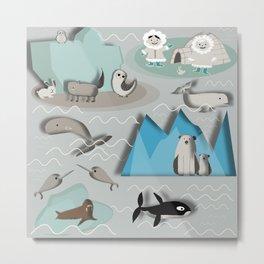 Arctic animals grey Metal Print