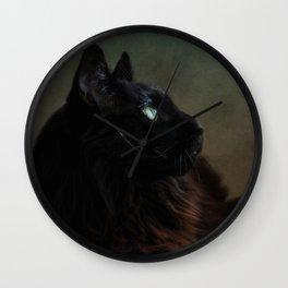 black maine coon Wall Clock