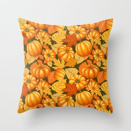 Pumpkins and Autumn Leaves Party Throw Pillow