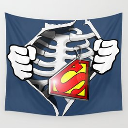 Skeleton Rib Cage With Superman Tag Wall Tapestry