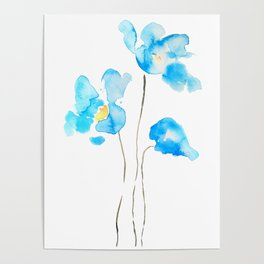abstract Himalayan poppy flower watercolor Poster