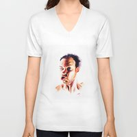 no face V-neck T-shirts featuring Face by Martin Kalanda
