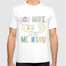 make me happy SMALL White Mens Fitted Tee