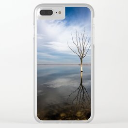 Dry tree submerged in the lake. Clear iPhone Case