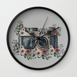 Camera with Summer Flowers Wall Clock