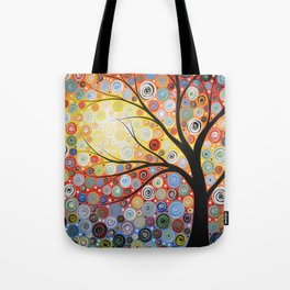 Abstract Art Landscape Original Painting ... Celestial Sunset Tote Bag