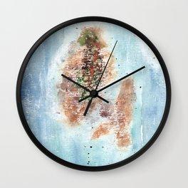 Abstract Islands Watercolor Painting Wall Clock
