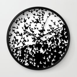 Birds in flight. Allegory of day and night Wall Clock
