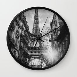 Paris at sunset Wall Clock