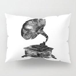 GRAMOPHONE, black and white Pillow Sham