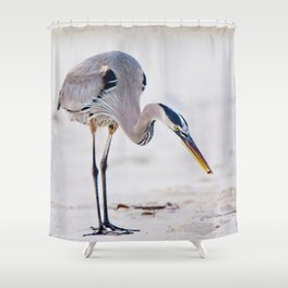 Blue Heron on the Beach Shower Curtain