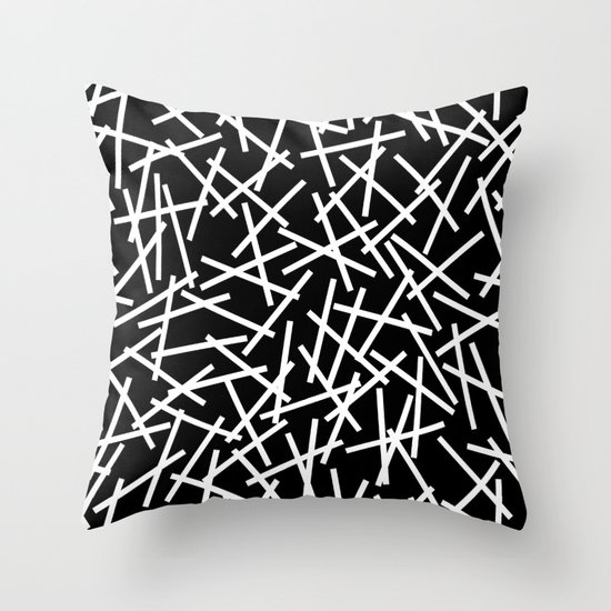Kerplunk Black and White Throw Pillow