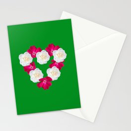 Rose Heart Kelly Green Stationery Cards
