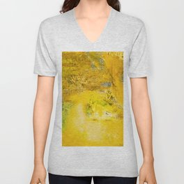 Golden - Abstract Mixed-Media Painting Unisex V-Neck
