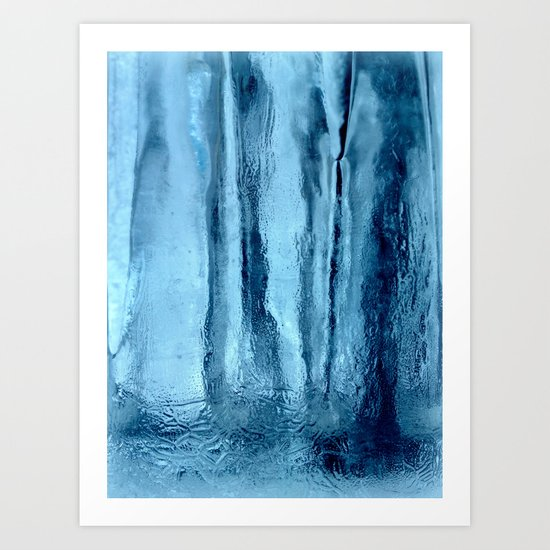 Ice with blue tonnes in a cold winter Art Print