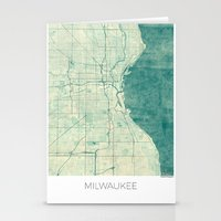 milwaukee Stationery Cards featuring Milwaukee Map Blue Vintage by City Art Posters