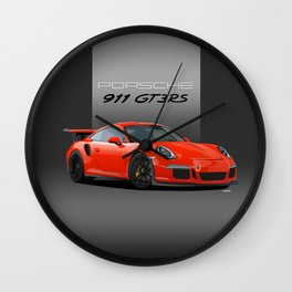 2016 Porsche 911 GT3 RS in Lava Orange Wall Clock