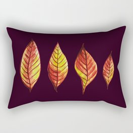 Four Red And Yellow Autumn Leaves Rectangular Pillow