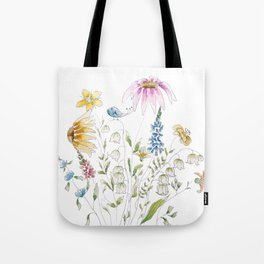 wild flowers and blue bird _ink and watercolor 1 Tote Bag
