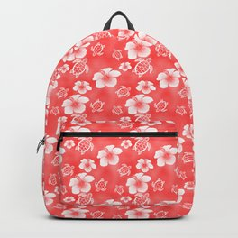 Red Hibiscus Honu Hawaiian Pattern Backpack