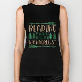 Reading is a Great Cure for Wanderlust (Green/Brown) Biker Tank
