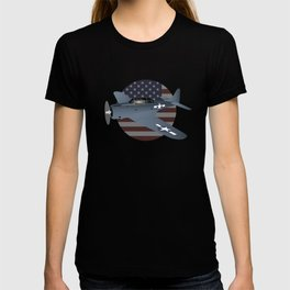 WW2 Douglas SBD-6 Dauntless Airplane with US Flag T-shirt