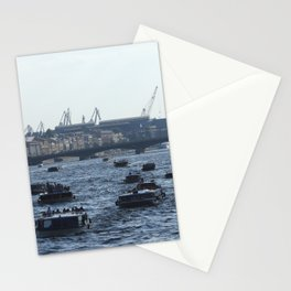Huge water traffic on Neva River. Many passenger boats. Stationery Cards