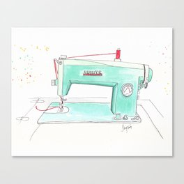 Vintage White 43-8 Sewing Machine in Aqua Canvas Print