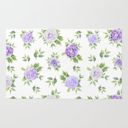 Hand painted lavender violet green watercolor floral Rug