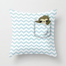 sloth in my pocket Throw Pillow