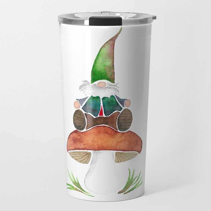 Gnome Sitting on a Mushroom Travel Mug