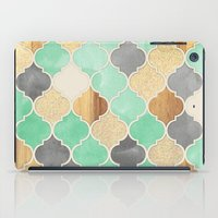 bedding iPad Cases featuring Charcoal, Mint, Wood & Gold Moroccan Pattern by micklyn