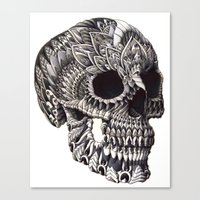 ornate Canvas Prints featuring Ornate Skull by BIOWORKZ