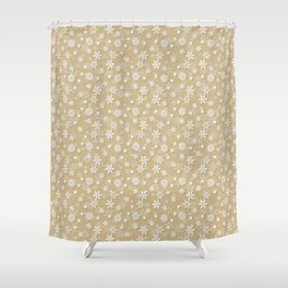 Festive Gold and White Christmas Holiday Snowflakes Shower Curtain