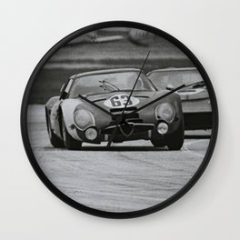 Race car black and white Wall Clock