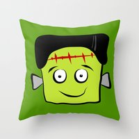 frankenstein Throw Pillows featuring Frankenstein by Jessica Slater Design & Illustration