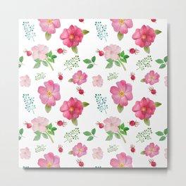 Botanical pink country roses hip floral pattern Metal Print